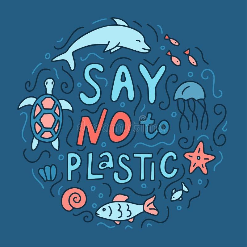 Ωκεάνια συρμένη χέρι έννοια οικολογίας ελεύθερη απεικόνιση δικαιώματος