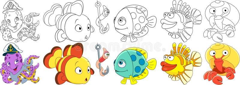 Ωκεάνια ψάρια κινούμενων σχεδίων καθορισμένα ελεύθερη απεικόνιση δικαιώματος