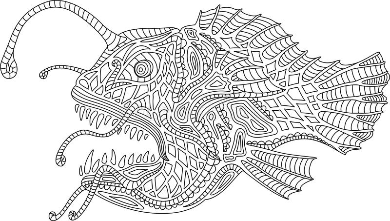 Ωκεάνια ψάρια ψαράδων τεράτων απεικόνιση αποθεμάτων