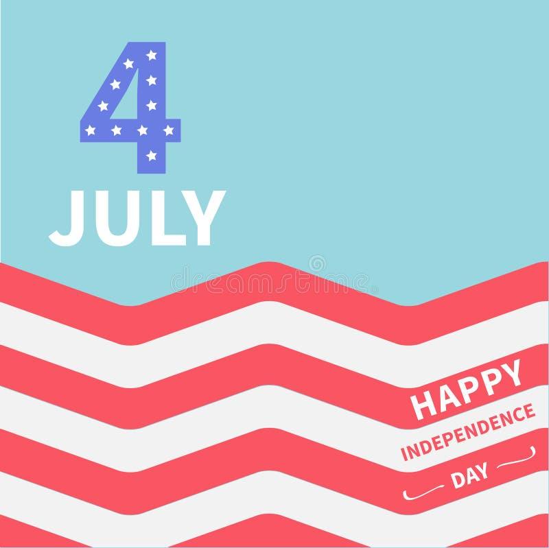 Ωκεάνιος 4ος κόκκινων και άσπρων λουρίδων του Ιουλίου Ευτυχής ημέρα της ανεξαρτησίας Ηνωμένες Πολιτείες της Αμερικής Επίπεδο σχέδ διανυσματική απεικόνιση