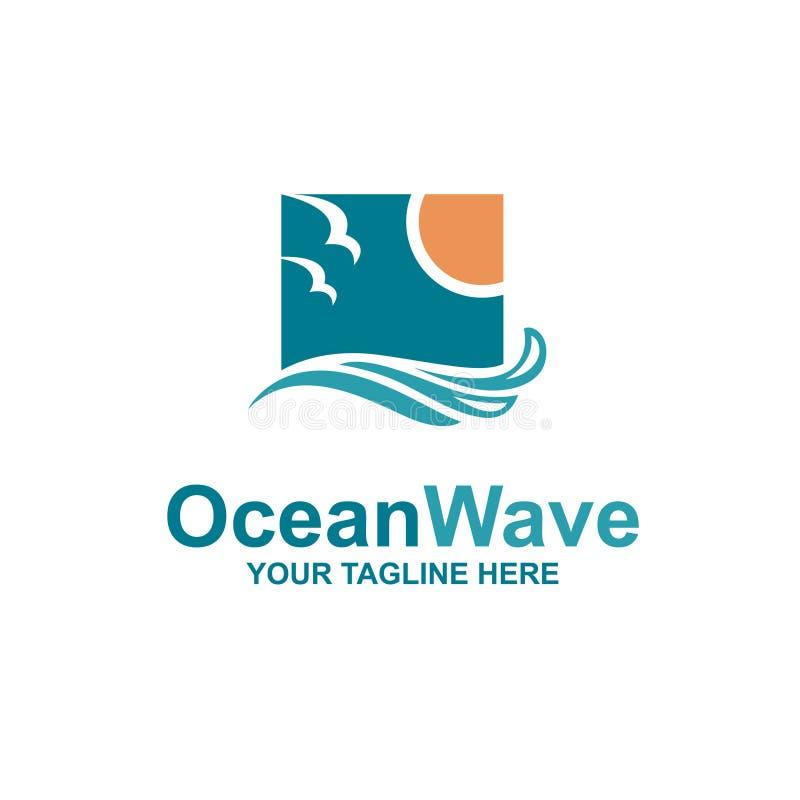 Ωκεάνιο έμβλημα κυμάτων διανυσματική απεικόνιση