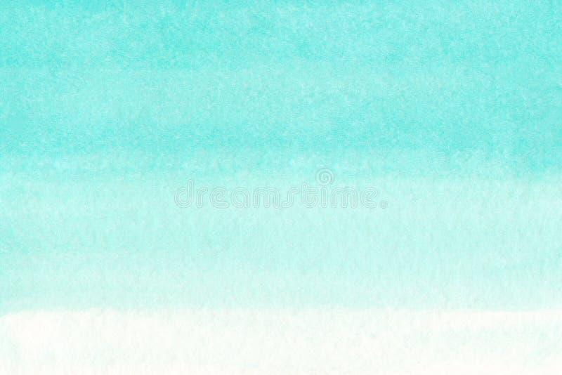 Ωκεάνιο αφηρημένο υπόβαθρο watercolor θάλασσας ή ουρανού μπλε κυανό τυρκουάζ Η οριζόντια κλίση watercolour γεμίζει Συρμένη χέρι σ ελεύθερη απεικόνιση δικαιώματος