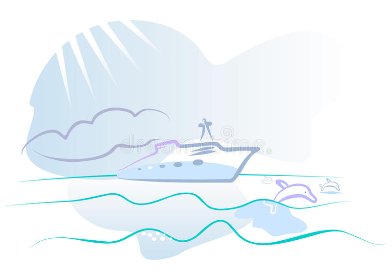 ωκεάνιο γιοτ κτυπήματο&sigma απεικόνιση αποθεμάτων