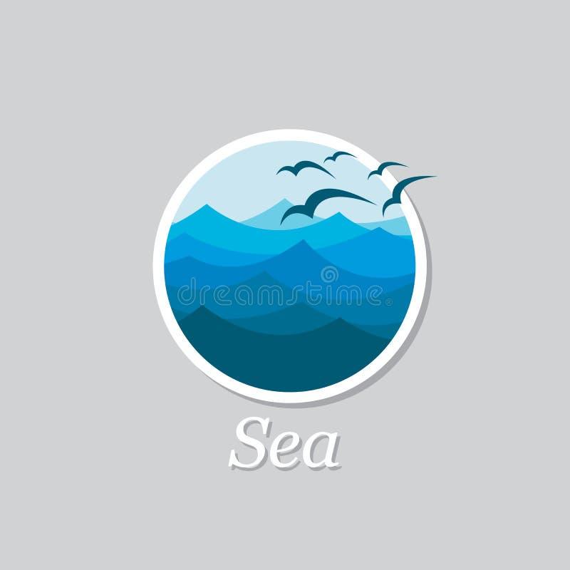 Ωκεάνιο εικονίδιο κυμάτων διανυσματική απεικόνιση