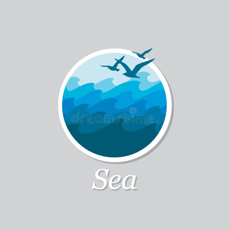 Ωκεάνιο εικονίδιο κυμάτων ελεύθερη απεικόνιση δικαιώματος