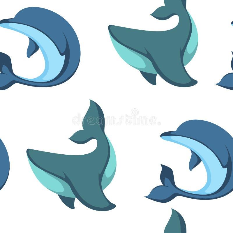 Ωκεάνιο νερού και δελφινιών διάνυσμα σχεδίων ζώων άνευ ραφής απεικόνιση αποθεμάτων