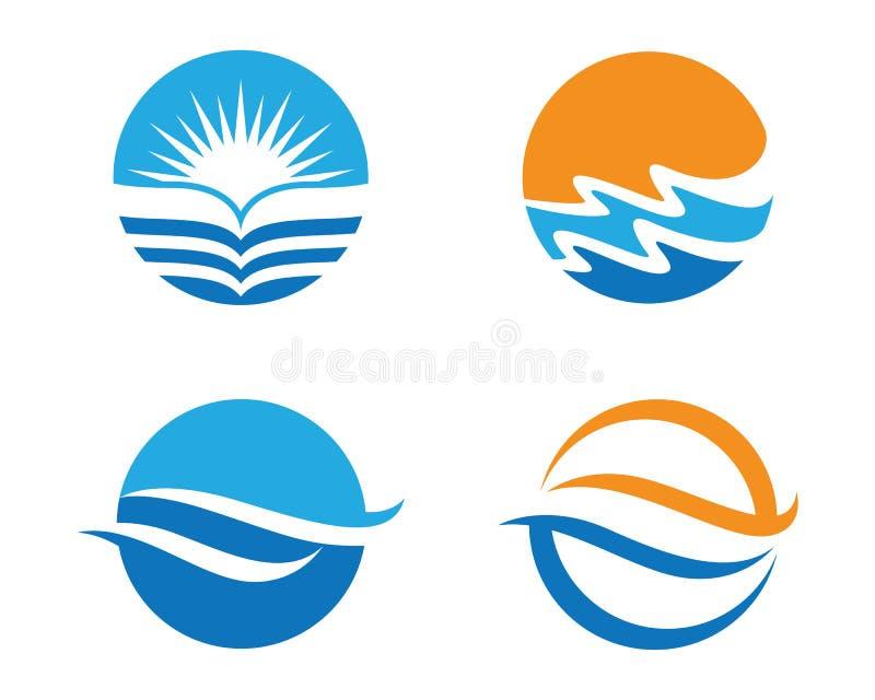 Ωκεάνιο λογότυπο κυμάτων παραλιών ελεύθερη απεικόνιση δικαιώματος