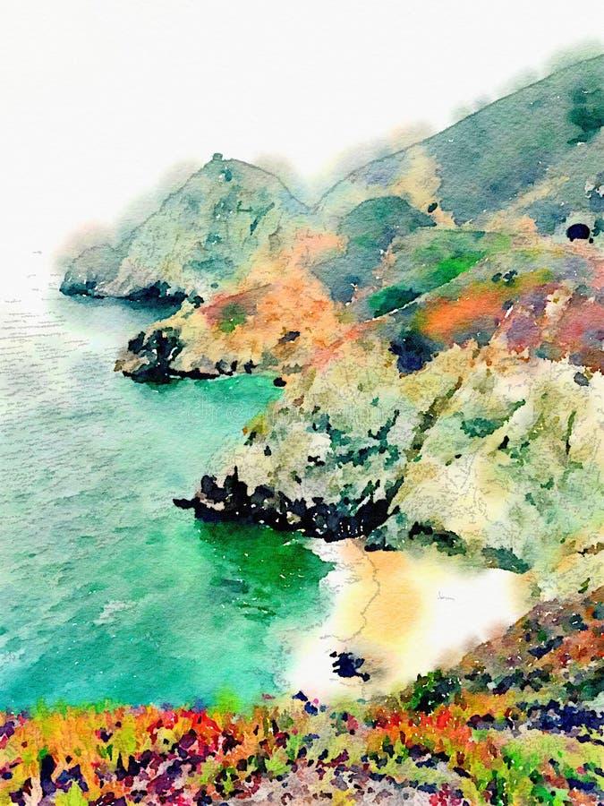 Ωκεάνιο παράκτιο τοπίο Watercolor με το νερό και τα βουνά στοκ φωτογραφία