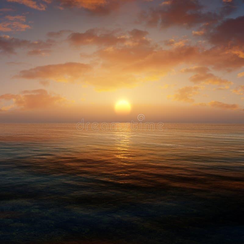 Ωκεάνιο περιβάλλον ηλιοβασιλέματος διανυσματική απεικόνιση