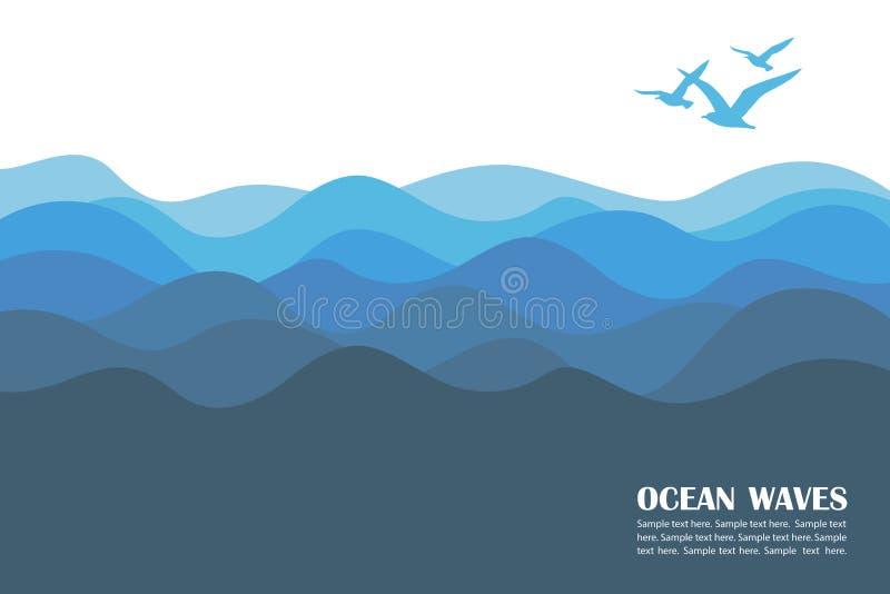 Ωκεάνιο υπόβαθρο κυμάτων διανυσματική απεικόνιση