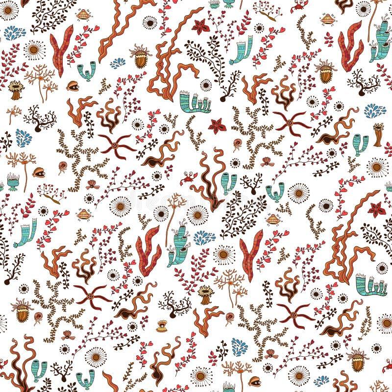 Ωκεάνιο φύκι Doodle, άνευ ραφής σχέδιο κοραλλιών ελεύθερη απεικόνιση δικαιώματος
