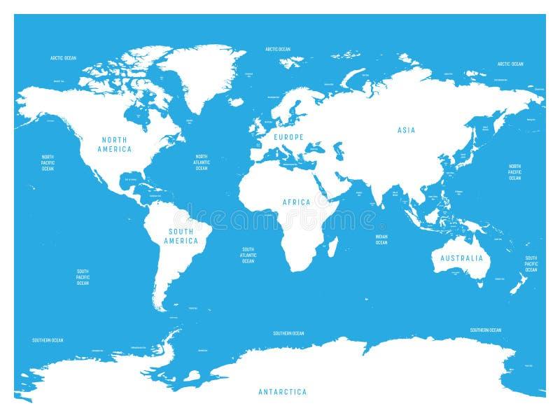 Ωκεανογραφικός χάρτης του κόσμου με τις ετικέτες των ωκεανών, των θαλασσών, των κόλπων, των κόλπων και των στενών Διανυσματικός χ απεικόνιση αποθεμάτων