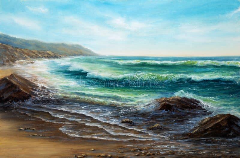 Ωκεανός και απότομοι βράχοι διανυσματική απεικόνιση