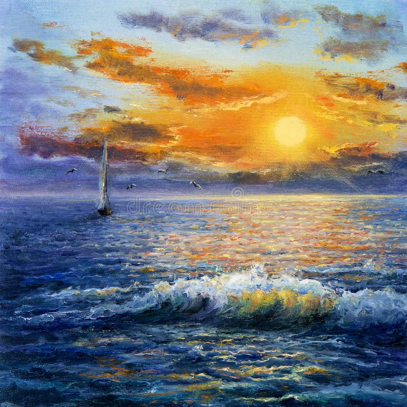 ωκεανός πέρα από το ηλιοβ&alpha απεικόνιση αποθεμάτων