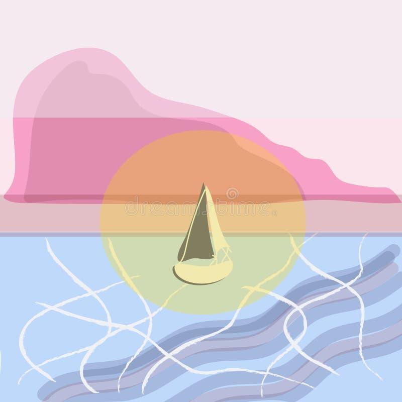 ωκεανός πέρα από το ηλιοβασίλεμα ΒΑΡΚΑ ΤΗΣ ΖΩΗΣ ελεύθερη απεικόνιση δικαιώματος