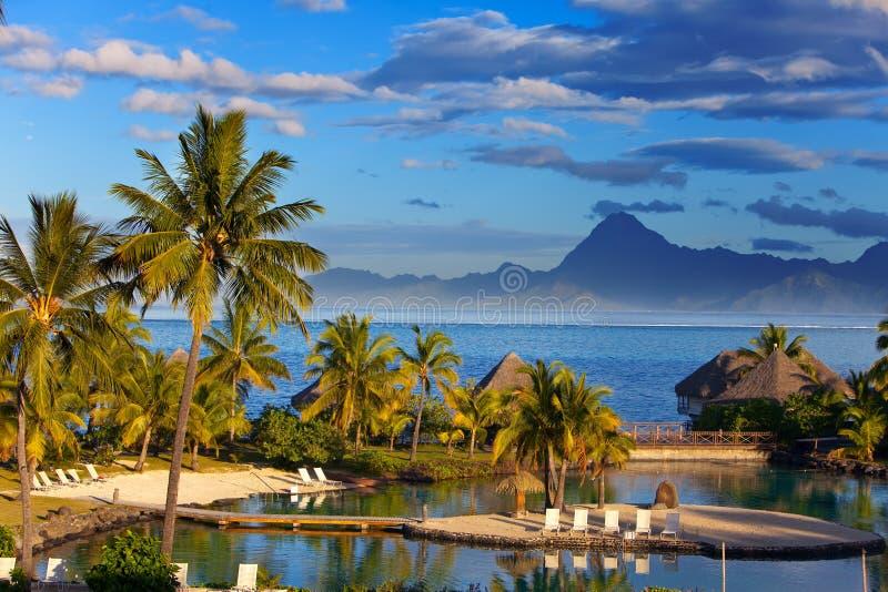 Ωκεανός στο ηλιοβασίλεμα. Πολυνησία. Tahiti.Landscape στοκ εικόνες