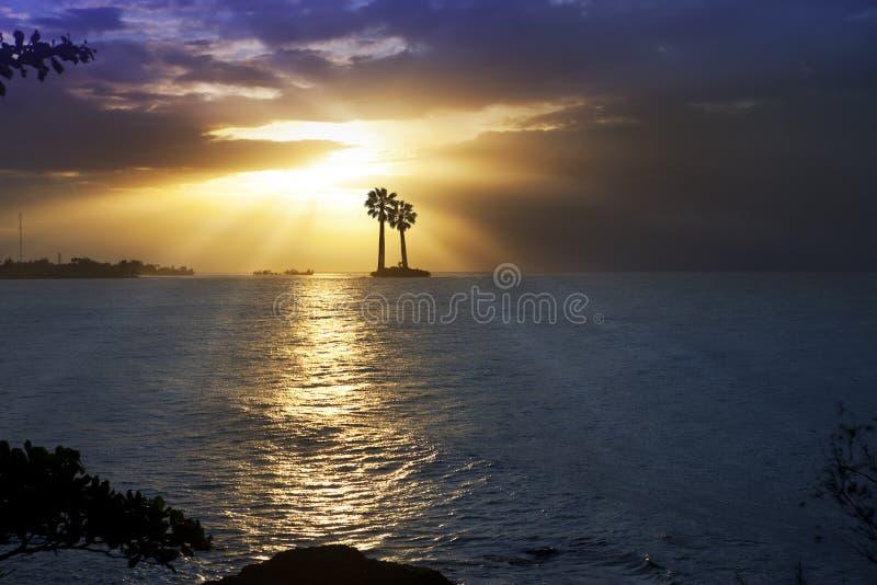 Ωκεανός στο ηλιοβασίλεμα Πολυνησία Ταϊτή στοκ εικόνες