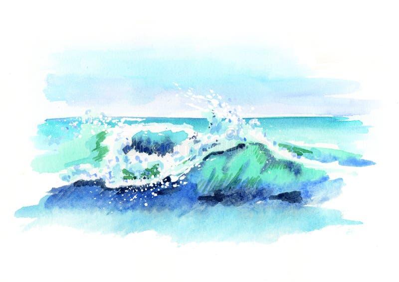 Ωκεανός Watercolor που πέφτει κάτω από το κύμα απεικόνιση αποθεμάτων