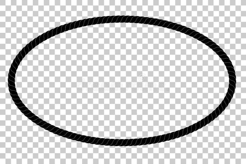 Ωοειδές πλαίσιο από το μαύρο σχοινί για το σχέδιο στοιχείων σας στο διαφανές υπόβαθρο επίδρασης διανυσματική απεικόνιση