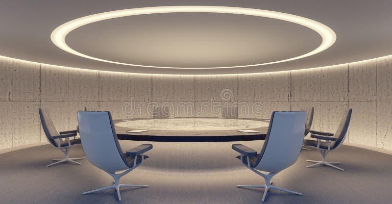 Ωοειδής αίθουσα συνδιαλέξεων με τη διάσκεψη στρογγυλής τραπέζης και τις καρέκλες στοκ φωτογραφία