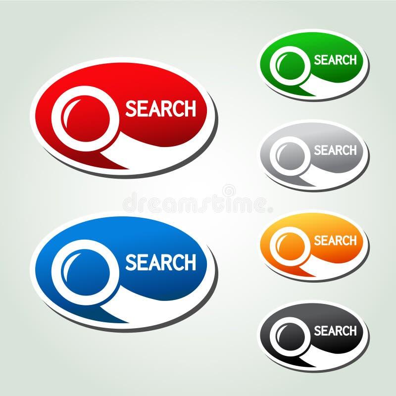 Ωοειδή κουμπιά αναζήτησης, αυτοκόλλητες ετικέττες με το πιό magnifier σύμβολο διανυσματική απεικόνιση