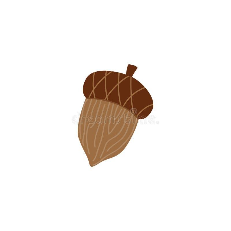 Ωριμάστε το καφετί βελανίδι - δρύινο καρύδι για το εποχιακό σχέδιο φθινοπώρου στο επίπεδο ύφος διανυσματική απεικόνιση