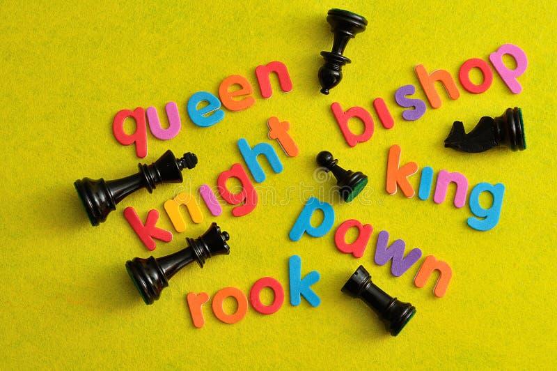 Όλα τα διαφορετικά κομμάτια σκακιού με εκεί τα ονόματα στοκ φωτογραφία