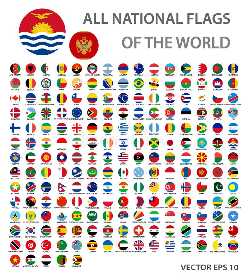 Όλες οι εθνικές σημαίες του παγκόσμιου συνόλου Οι επίσημες παγκόσμιες σημαίες περιβάλλουν τα κουμπιά, ακριβή χρώματα διανυσματική απεικόνιση