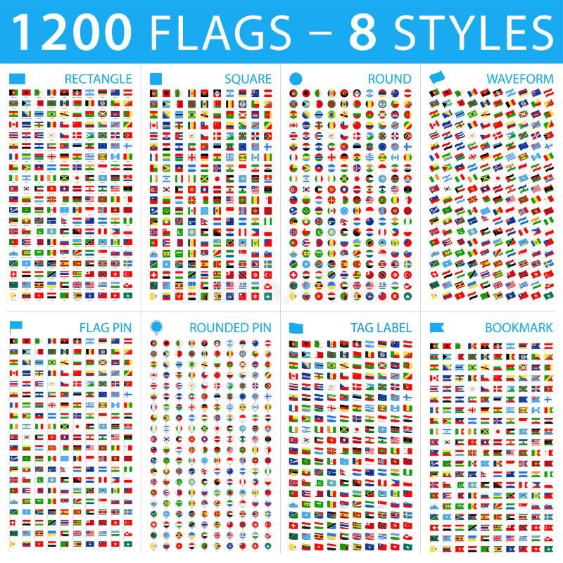 Όλες οι παγκόσμιες σημαίες Μεγάλο σύνολο διαφορετικές μορφές Διανυσματικά επίπεδα εικονίδια ελεύθερη απεικόνιση δικαιώματος
