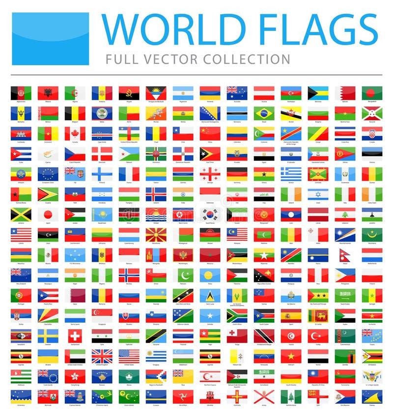 Όλες οι παγκόσμιες σημαίες - νέος πρόσθετος κατάλογος χωρών και εδαφών - διανυσματικά στιλπνά εικονίδια ορθογωνίων απεικόνιση αποθεμάτων