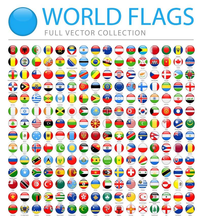 Όλες οι παγκόσμιες σημαίες - νέος πρόσθετος κατάλογος χωρών και εδαφών - διανυσματικά στρογγυλά στιλπνά εικονίδια ελεύθερη απεικόνιση δικαιώματος