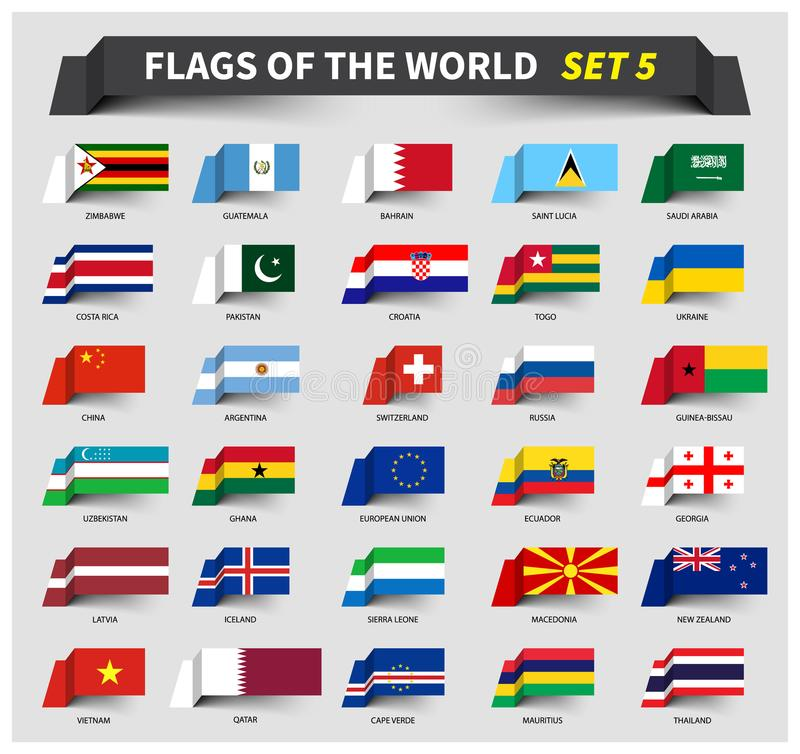 Όλες οι σημαίες του παγκόσμιου συνόλου 5 Ύφος κορδελλών κυματισμού ελεύθερη απεικόνιση δικαιώματος