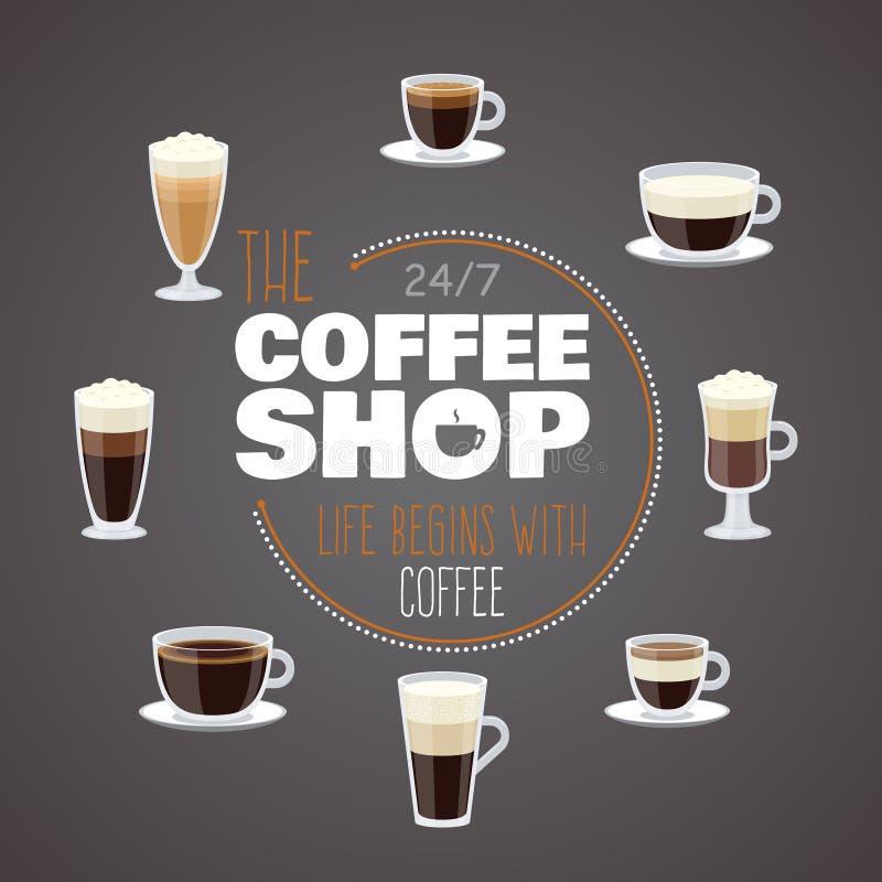 Όλη την ημέρα με τον καφέ - διανυσματικό έμβλημα καφετεριών με τα φλυτζάνια με τα διαφορετικά ζεστά ποτά απεικόνιση αποθεμάτων