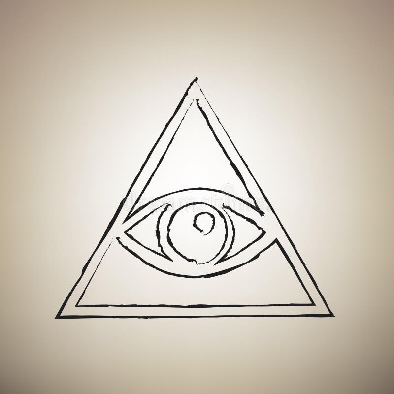 Όλοι που βλέπουν το σύμβολο πυραμίδων ματιών Freemason και σπιρίτσουαλ διάνυσμα ελεύθερη απεικόνιση δικαιώματος