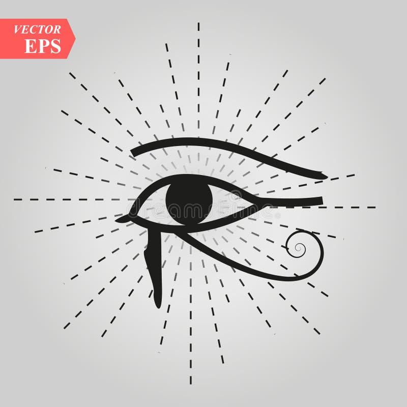 Όλος-βλέποντας στο μάτι του Θεού το μάτι του ματιού πρόνοιας της παντογνωσίας φωτεινό του δέλτα Oculus Dei Αρχαίο μυστικό ιερό σύ διανυσματική απεικόνιση