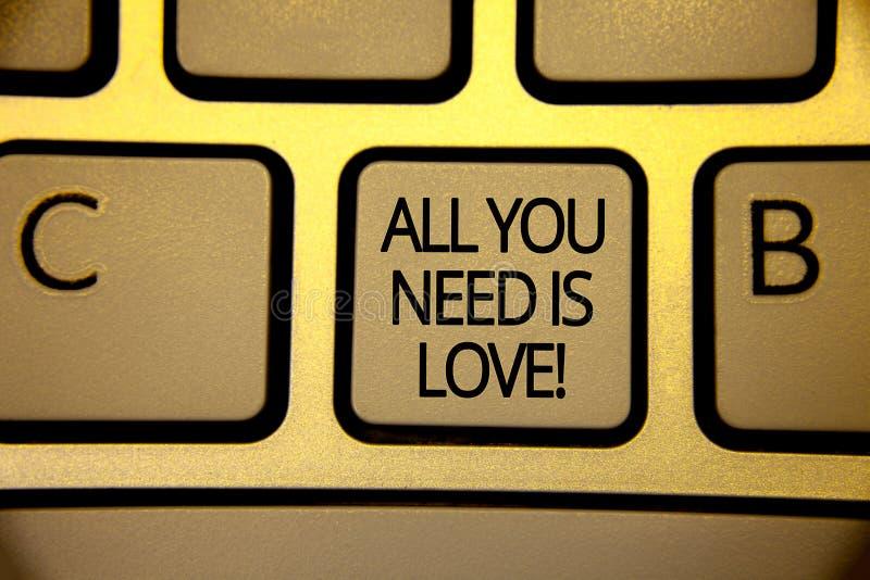 Όλο κειμένων γραψίματος λέξης που χρειάζεστε είναι αγάπη κινητήρια Η επιχειρησιακή έννοια για τη βαθιά αγάπη χρειάζεται το ρωμανι στοκ εικόνες
