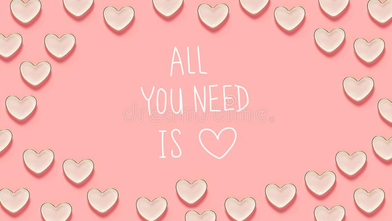 Όλο που χρειάζεστε είναι μήνυμα αγάπης με πολλά πιάτα καρδιών διανυσματική απεικόνιση