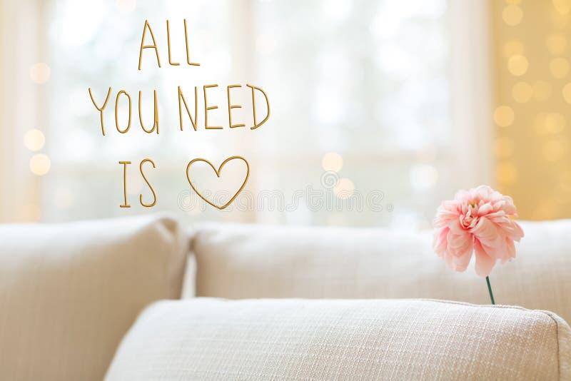 Όλο που χρειάζεστε είναι μήνυμα αγάπης με το λουλούδι στον εσωτερικό καναπέ δωματίων στοκ εικόνες