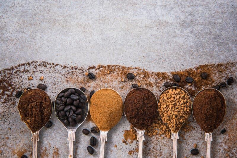 Όλο το είδος καφέ στα κουτάλια στη συγκεκριμένη πλάκα στοκ εικόνες
