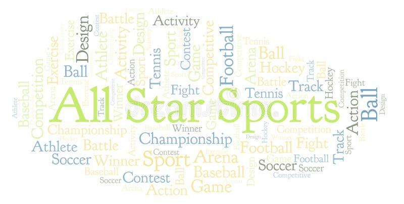 Όλο το σύννεφο αθλητικής λέξης αστεριών ελεύθερη απεικόνιση δικαιώματος
