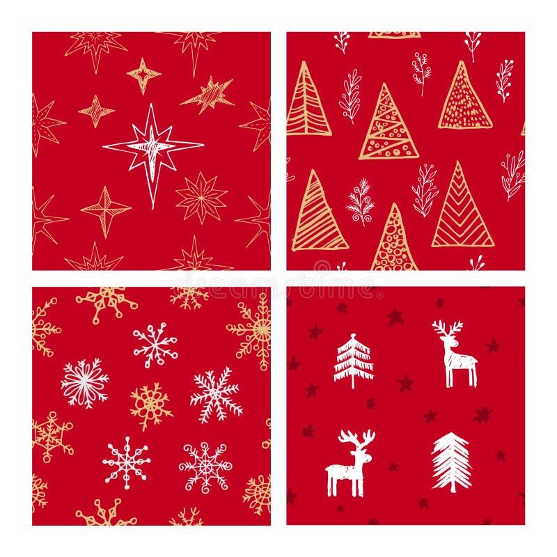 Όμορφα άνευ ραφής σχέδια Χριστουγέννων και χειμώνα, που σύρονται με το χέρι Πολλά εορταστικά στοιχεία και σχέδια διανυσματική απεικόνιση