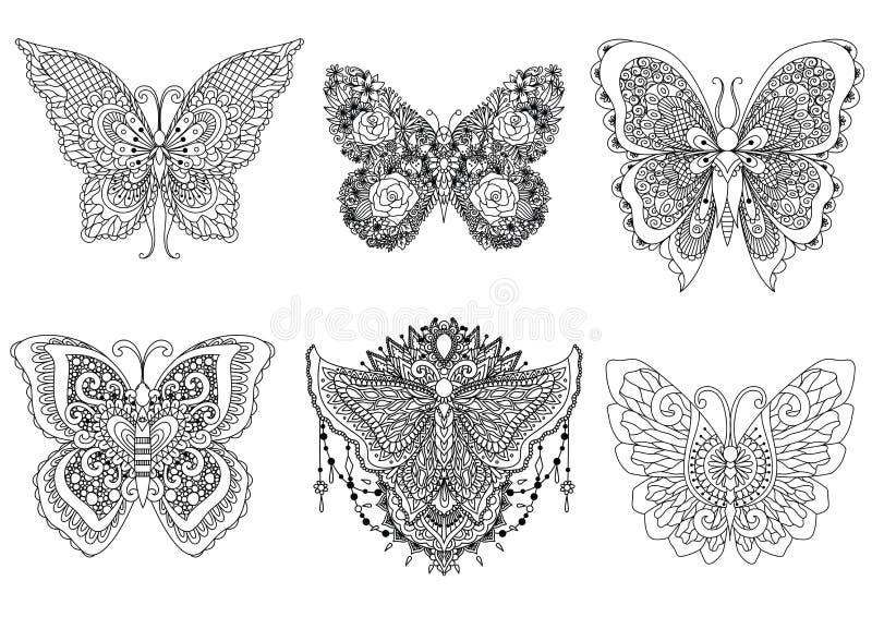 Όμορφα έξι αφηρημένα σχέδια τέχνης γραμμών πεταλούδων διανυσματική απεικόνιση
