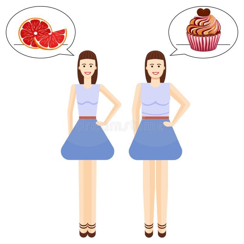 Όμορφα αγαπημένα υγιή και ανθυγειινά τρόφιμα κοριτσιών απεικόνιση αποθεμάτων