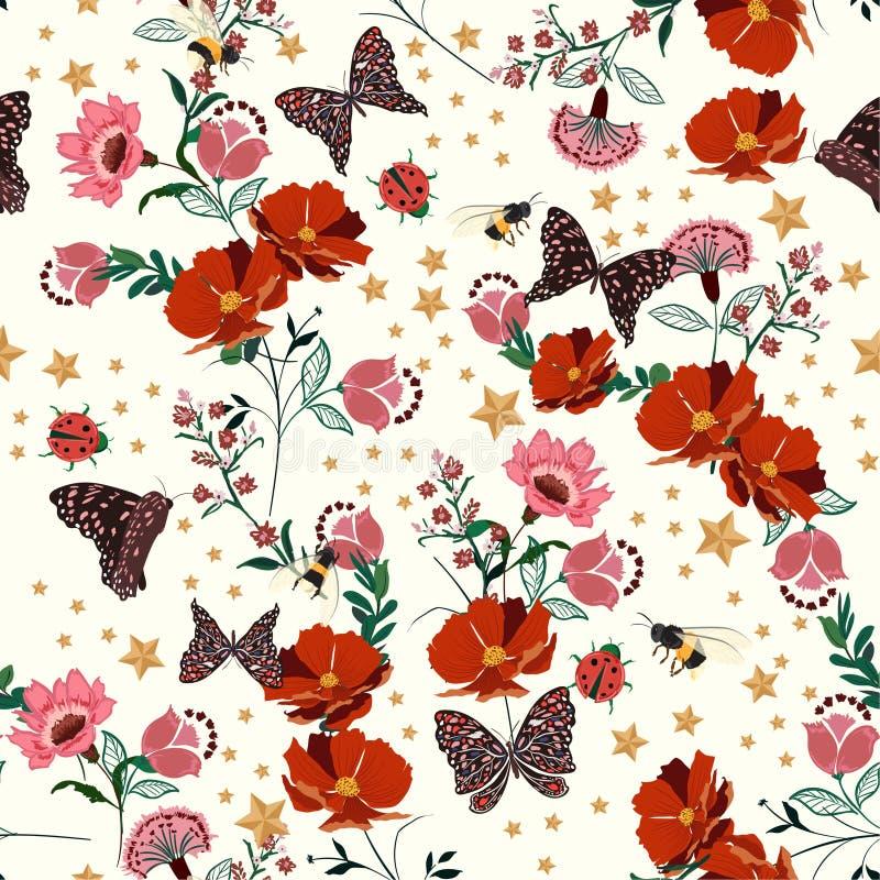 Όμορφα αναδρομικά ανθίζοντας λουλούδια με το έντομο, μέλισσες, πεταλούδα, κυρία διανυσματική απεικόνιση
