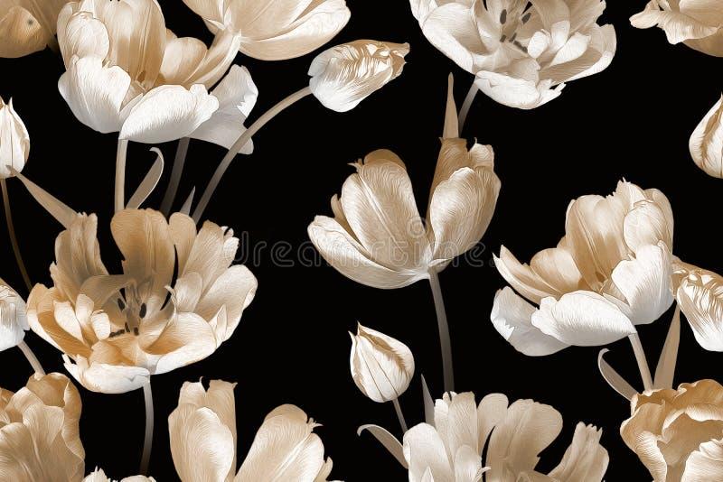 Όμορφα ανοιξιάτικα λουλούδια τουλίπες Μοτίβο χωρίς ραφή από ίνες Ασπρόμαυρο στοκ εικόνες με δικαίωμα ελεύθερης χρήσης
