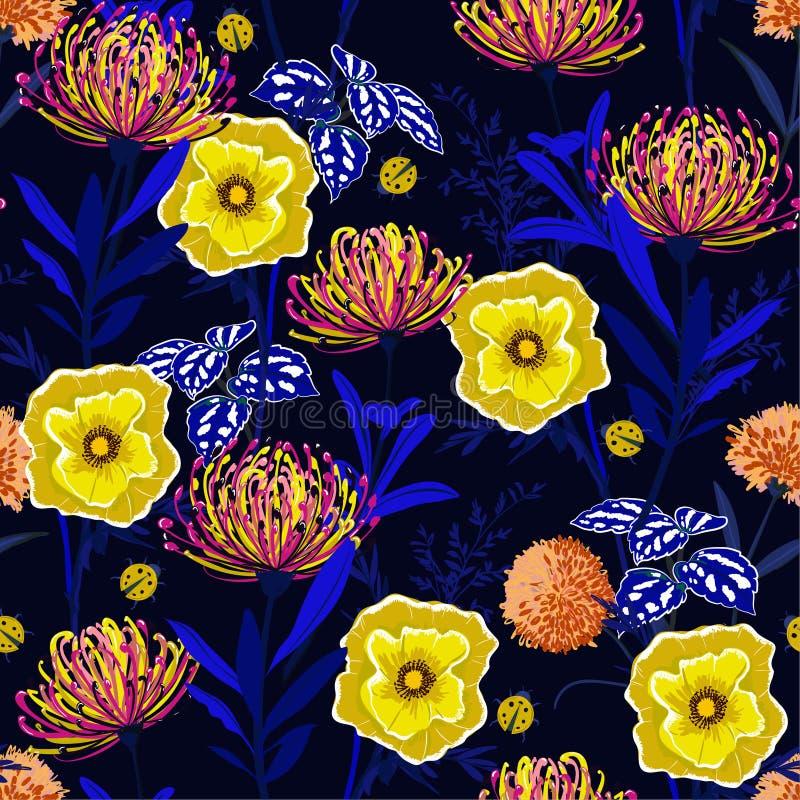 Όμορφα βοτανικά λουλούδια σχεδίων αντίθεσης άνευ ραφής, που απομονώνονται διανυσματική απεικόνιση