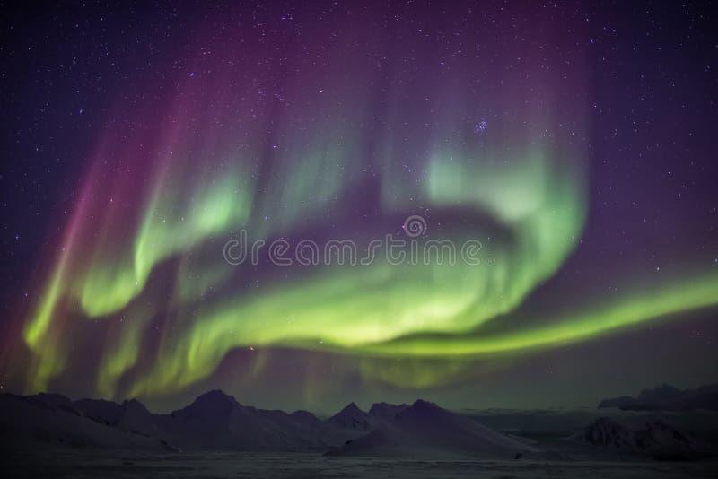 Όμορφα βόρεια φω'τα - αρκτικό χειμερινό τοπίο στοκ εικόνα με δικαίωμα ελεύθερης χρήσης