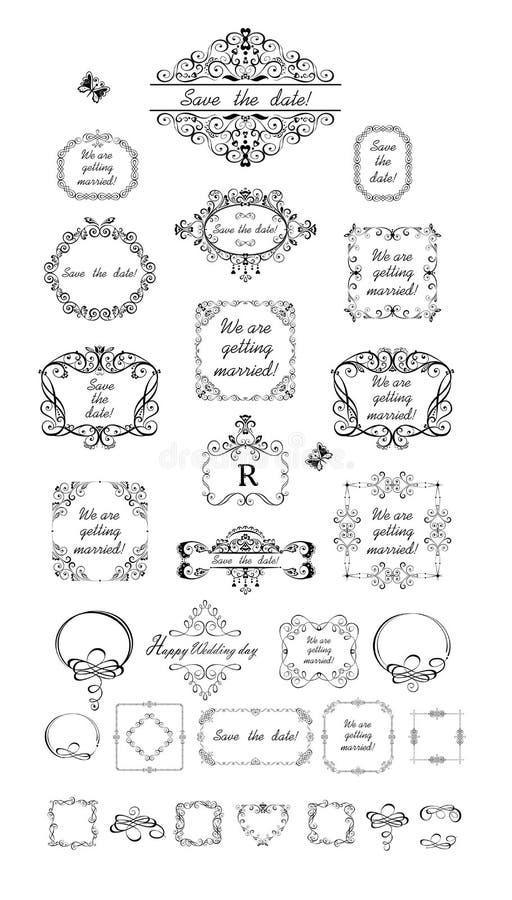 Όμορφα γαμήλια εκλεκτής ποιότητας πλαίσια ελεύθερη απεικόνιση δικαιώματος