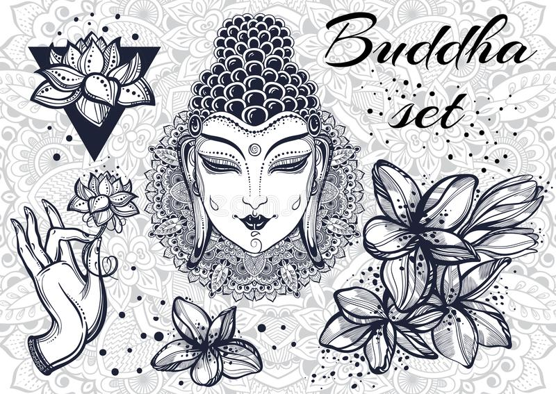 Όμορφα διακοσμητικά στοιχεία του ασιατικού πολιτισμού Περίκομψο στρογγυλό υπόβαθρο σχεδίων mandala Βουδιστικά μοτίβα τέχνης αφηρη διανυσματική απεικόνιση