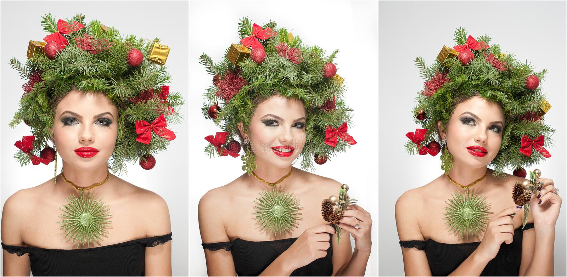 Όμορφα δημιουργικά Χριστούγεννα makeup και εσωτερικός βλαστός ύφους τρίχας Πρότυπο κορίτσι μόδας ομορφιάς Χειμώνας Όμορφος μοντέρ στοκ φωτογραφίες με δικαίωμα ελεύθερης χρήσης